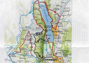 Photo: La mappa del percorso Giorno 1 - n.52 : Bourget du Lac - Chanaz; Giorno 2 - n.54 : Chanaz - la Chambotte - Aix - Bourget