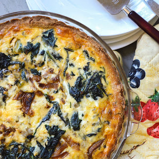 Swiss Chard and Caramelized Onion Quiche.