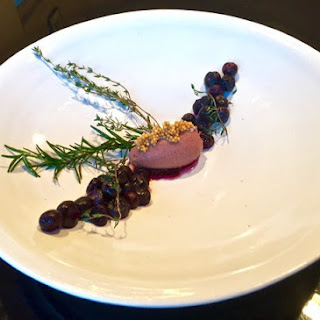 "Melt-In-Your-Mouth Chicken Liver Pate, Pickled Blueberries, Mustard Seed ""Caviar"""