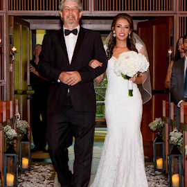 Walking With Dad by Matthew Chambers - Wedding Ceremony ( bride, dress, tuxedo, beard, dad, sexy, bouquet, aisle, cute, father of the bride, white, walking, brunette )