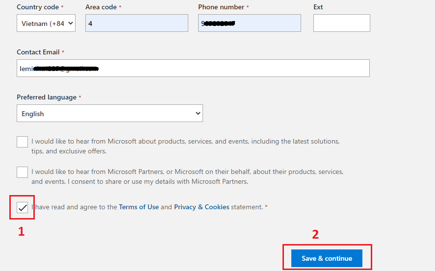 Điền thông tin cá nhân để đăng ký chứng chỉ