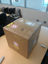 Photo: The KAOS Lab's new Makergear M2 3D printer arrived (actually, a couple days ago, but it didn't go to the office we expected). Ordered fully assembled in early November.