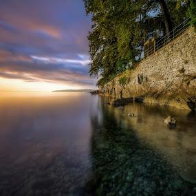 Lovran Awakening by Rashid Ramdan - Landscapes Sunsets & Sunrises ( croatia, seascape, travel, sunrise, landscape, longexposure, lovran )