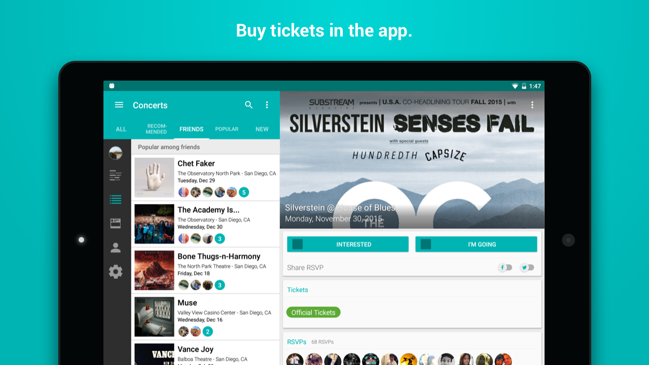 Bandsintown Concerts- screenshot