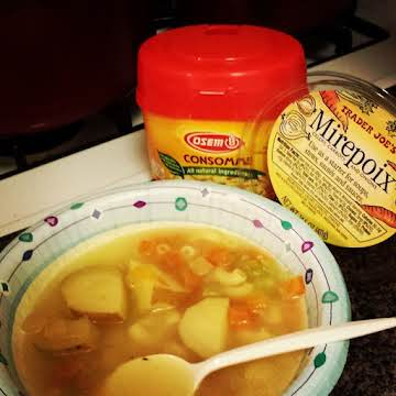 Vegetable Soup in Chickenless Chicken Broth