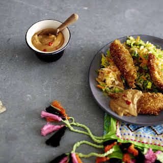 Quinoa Coated Chicken with Daikon Salad and Peanut Sauce.