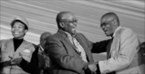 HAPPY: ANC President Jacob Zuma and Free State party chairman Ace Magashule at the provincial conference. Left is Safety and Security Deputy Minister Susan Shabangu. Pic. Antonio Muchave. 25/07/08. © Sowetan.