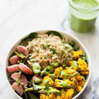 Chickpea Scramble Breakfast Bowls with Roasted Spring Vegetables.