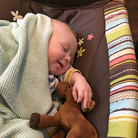 Dreaming by Sandy Stevens Krassinger - Babies & Children Children Candids ( dreaming, smiling, baby, blanket, moose, boy, sleeping )