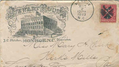 Photo: Postmarked 1893 - John D. Stewart operated a brickyard on Lancaster Avenue in Monroe (between the present Johnson and Bragg Streets). In 1875,he built a 3-story brick hotel, called Stewart House, on the east side of the 100 block north. Parts of it are still in use, although the third floor was removed after a fire in the 1920's