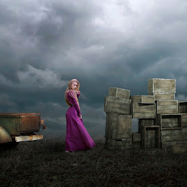 Delivery by Frank Quax - Digital Art People ( purple, box, manipulation, people, creative, photography, landscape )