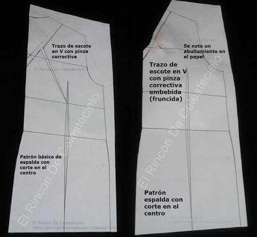 Trazo de pinza correctiva y haciendo embebido en escote en V espalda