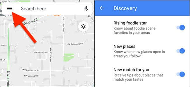 Google Maps Discovery Notifications