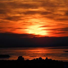 Orange At Night by Patricia Phillips - Landscapes Sunsets & Sunrises ( alaska sunsets orange arctic valley )