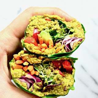 Raw Rainbow Collard Green Wraps with Curry Sunflower Seeds (Low Carb).