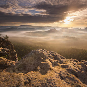 beautiful mountain landscape with sun rays at Kleiner Winterberg by Petr Musil - Landscapes Sunsets & Sunrises ( fogs, park, national, sunset, winterberg, kleiner, germany, rock, sun, saxony )