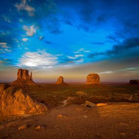 Mittens a Glow! by Jeremy Jordan - Landscapes Deserts ( monument valley, sunset, arizona, landscape, utan )
