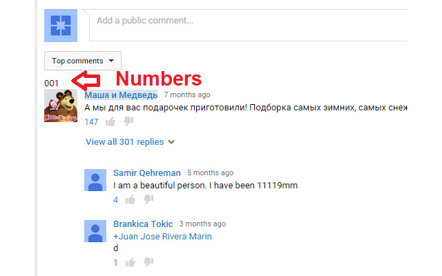 Add No. YouTube Comments