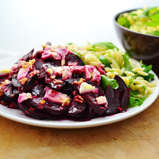 Baked Beetroot With Feta And Orzo.
