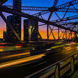 Rush hour by Andy Rigby - City,  Street & Park  Night ( cars, fast, hour, city, sunset, brisbane, bridge, rush,  )