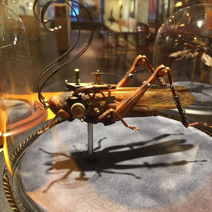 One of the mechanically enhanced insects by Mike Libby in the WonderBox. Photo: J GO Gallery.
