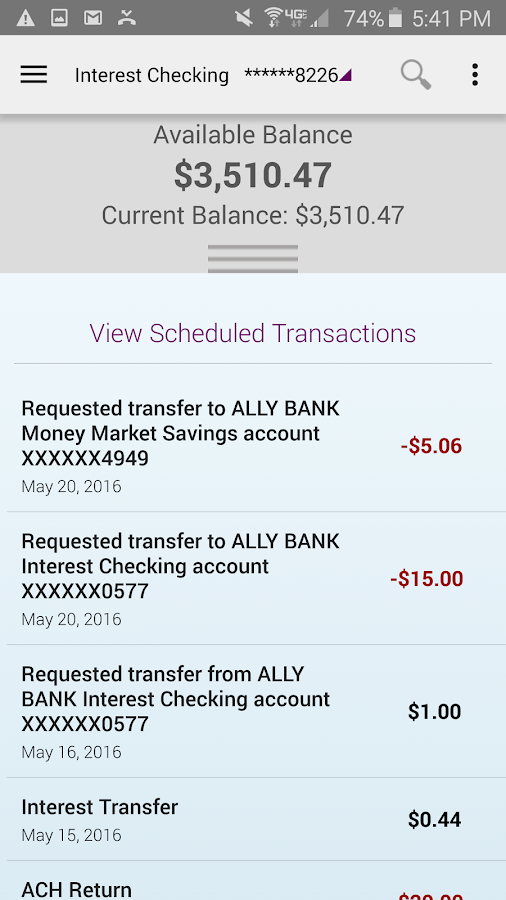 Ally Mobile Banking- screenshot