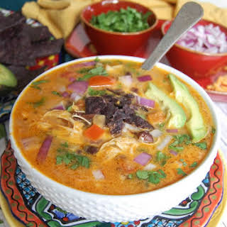 Slow Cooker Cheesy Chicken Mexican Soup.