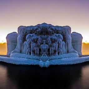 Ice Cat by Jamie Rabold - Digital Art Places ( water, cat, northern minnesota, lake, lake superior, great lake, minnesota, winter, cold, ice, snow, big lake, north shore )