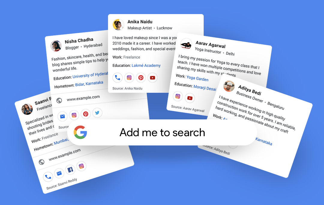 Nueva funcionalidad de tarjetas personales en Google, listas en 2020