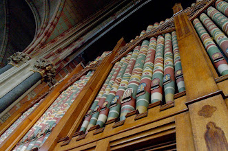 Photo: Keble College chapel's colourful organ.