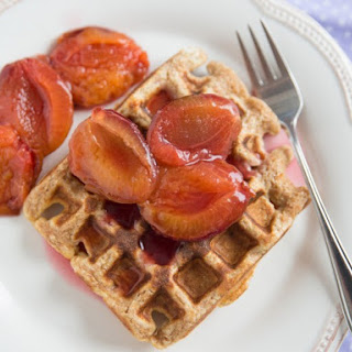 Fresh Plum and Pecan Waffles