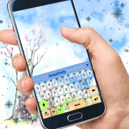 个人化の可愛いガーデンキーボードのテーマ LOGO-記事Game