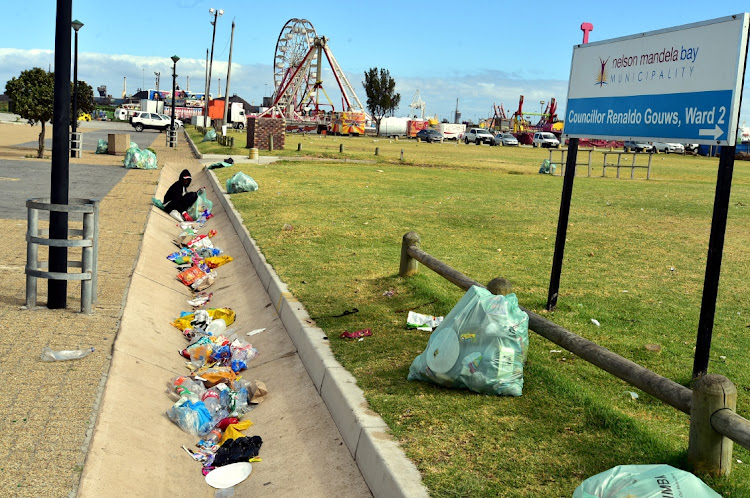 Litter lined the beachfront from King's Beach all the way to the Summerstrand on New Year's Day.