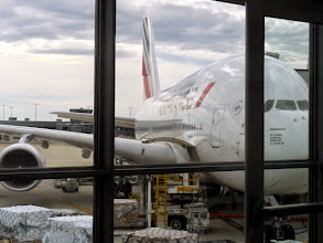 Photo: The journey begins on an Air France double decker A 380
