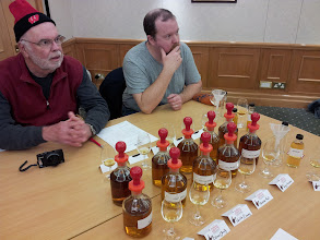 Photo: Bob and Russ get ready to formulate their own whisky blend at Famous Grouse.