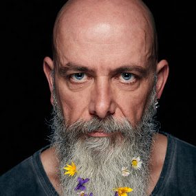 Beard and Flowers by Michael Strobl - People Portraits of Men ( spring flowers, beard, springtime, portrait, man, flower )