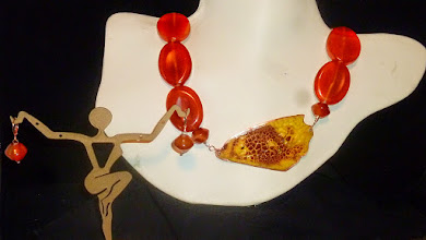 Photo: <BEREHYNYA> {Great Goddess Protectress} unique one-of-a-kind statement jewellery by Luba Bilash ART & ADORNMENT  MARIPOSA - МЕТЕЛИК - copper enamel pendant, carnelian, rose gold vermeil lobster claw clasp/chains/French wires SOLD/ПРОДАНИЙ