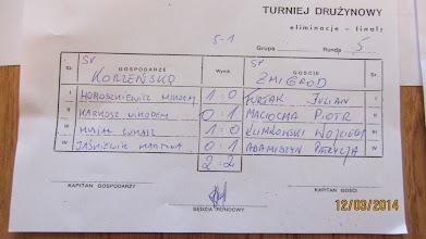 Photo: Protokół z meczu Żmigród - Korzeńsko