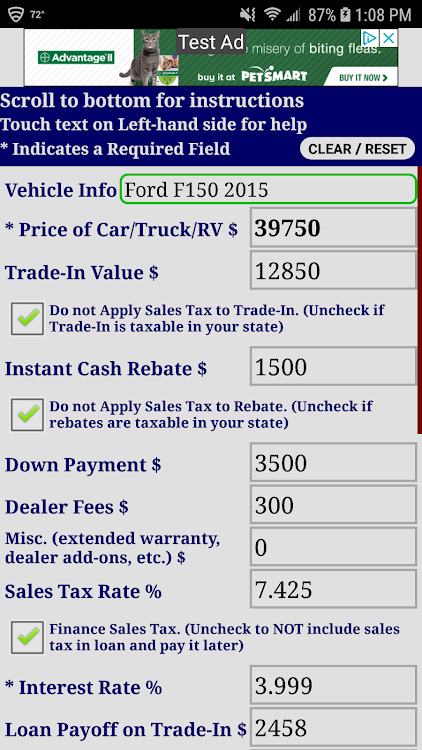 Down Payment Calculator >> Auto Car Loan Payment Calculator Free Android Sovellukset