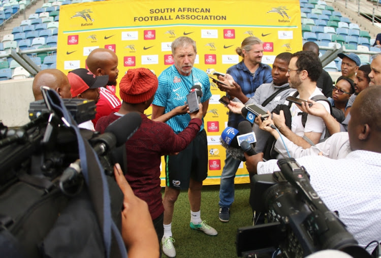 Bafana Bafana head coach Stuart Baxter speaks to the media before a training session at Moses Mabhida Stadium in Durban on September 07, 2018.