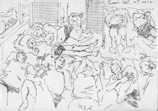 Photo: 九個囚犯睡地板2012.10.27鋼筆 九個囚犯睡地板,九個囚犯睡地板, 說躺就躺,心裡很幹; 老鳥才能睡床板,菜鳥只能睡地板。 一二三四,現況只能屈從,不然還能怎樣, 超收是監獄的傳統,擁擠是家常便飯。 九個囚犯睡地板,九個囚犯睡地板。 (重唱一遍)
