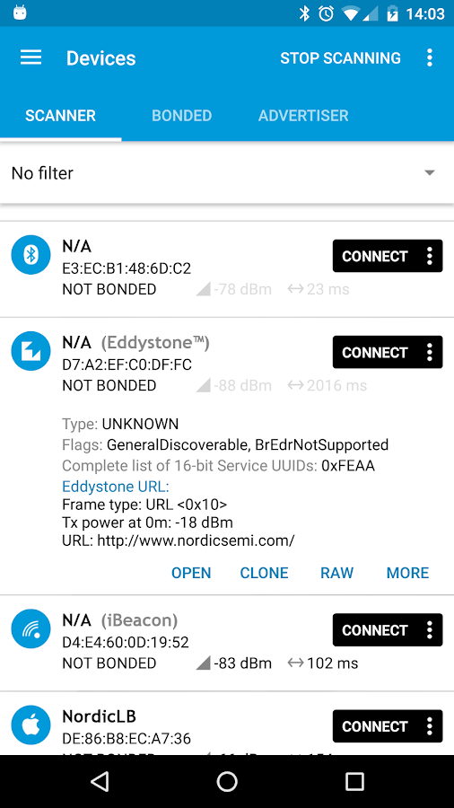 nRF Connect for Mobile- screenshot