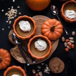 Baked Pumpkin Custards with Maple Mascarpone Whipped Cream.