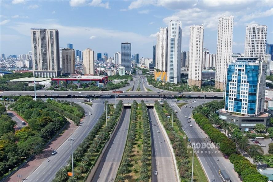 Đường phố Hà Nội nhìn từ trên cao. Ảnh: Tô Thế
