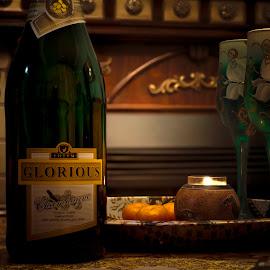 Celebration by Tsatsralt Erdenebileg - Food & Drink Alcohol & Drinks ( glasses, celebration, drinks, contrast, on the table, dark background, naturmort )