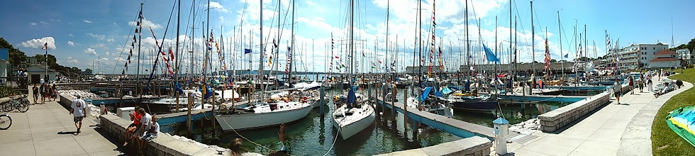 Photo: Mackinac Island Marina packed with boats after the race
