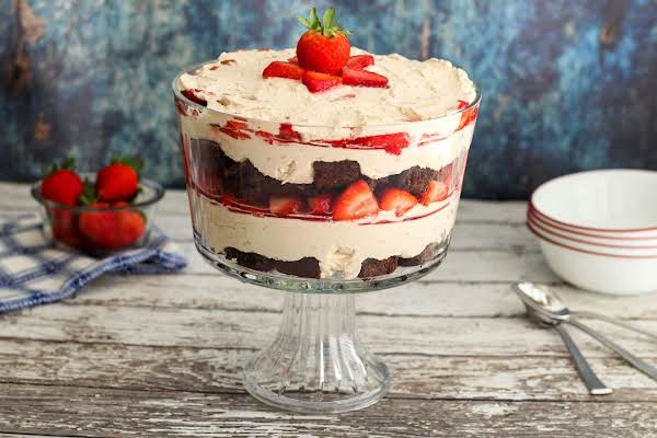 Strawberry And Chocolate Brownie Trifle Ready To Be Served.