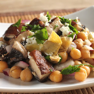 Chickpea Salad With Portobello Mushrooms And Feta.