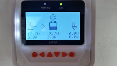 Photo: [Device replaced with a Victron unit now] Closer view of the MT50 Remote Meter's main monitor screen. This was near sunset so the PV voltage is the same as the batteries. During the day the voltage shows a lot higher at 19V plus and about 29A current going into the batteries.
