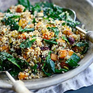 Warm Butternut, Kale + Quinoa Salad with Cider Dijon Dressing